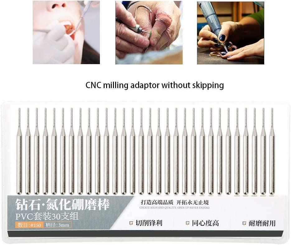 Xinwoer Grinding Needle,Grinding Needle Set Emery Cylindrical Flat Head Electric Grinder Accessories 2mm 30Pcs
