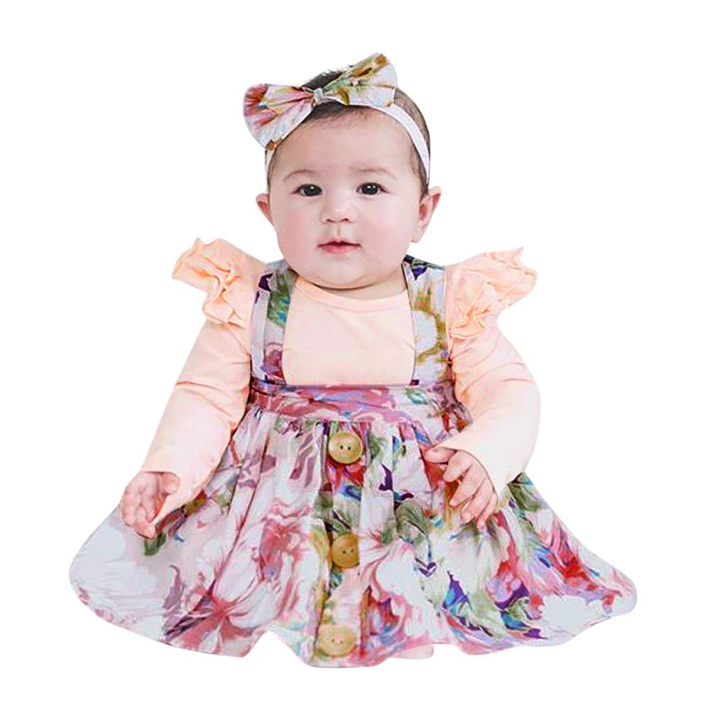 2a799270faeb Amazon.com  3-24 Months Toddler Baby Long Sleeve Romper Jumpsuit Ruffle  Shirt Tops Blouse+Floral Print Strap Skirt Set 2Pcs Outfit  Clothing