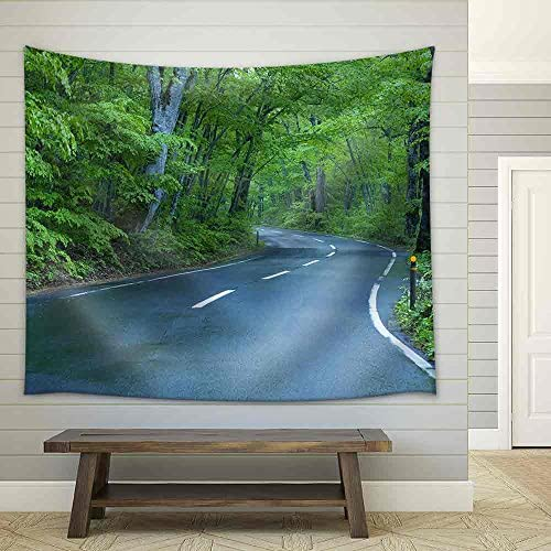 Road in a Green Forest Fabric Wall