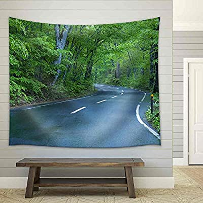 Stunning Object of Art, Road in a Green Forest Fabric Wall, Created Just For You