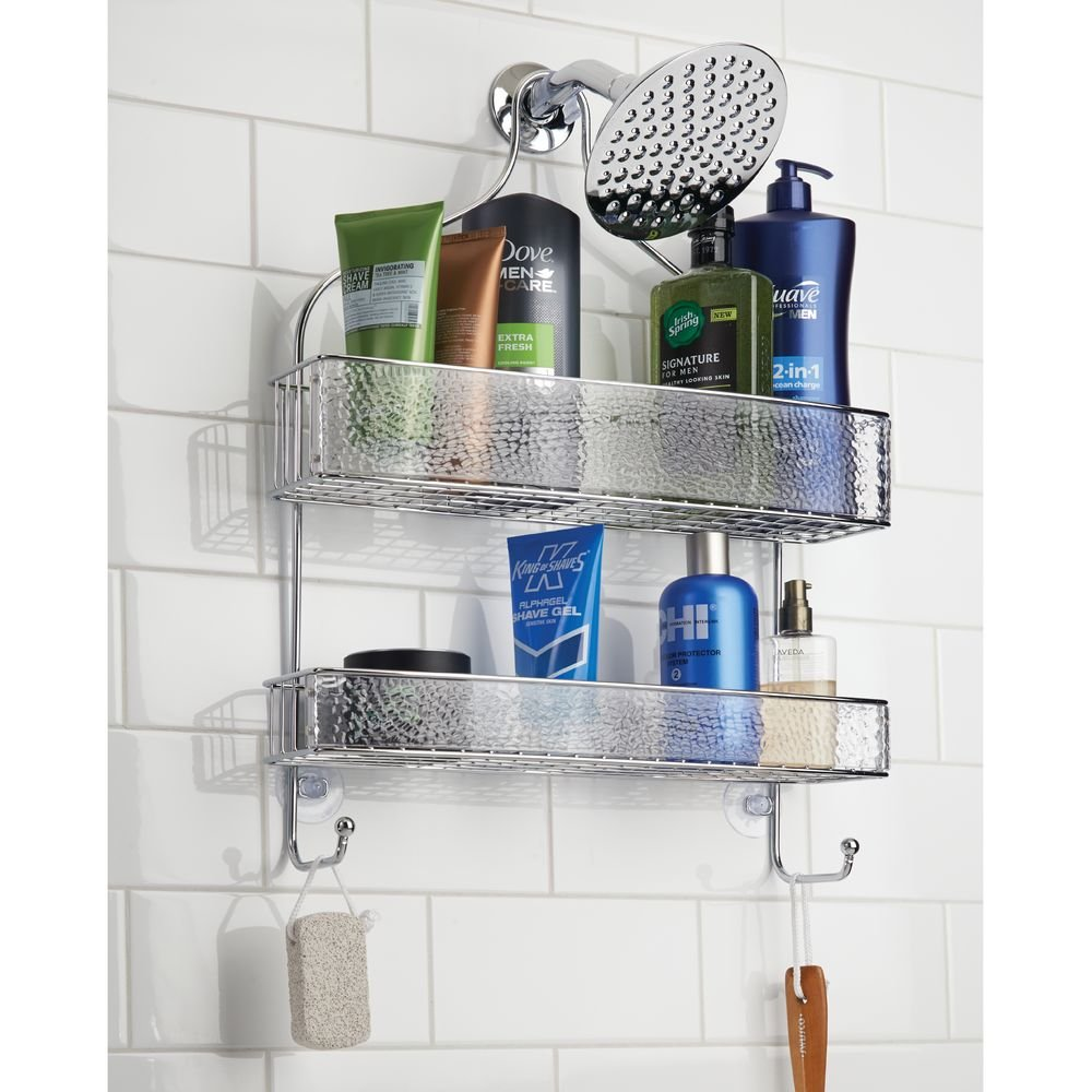 InterDesign Rain Hanging Shower Caddy – Wide Bathroom Storage Shelves for Shampoo, Conditioner and Soap, Clear/Chrome by InterDesign (Image #5)