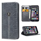 Image of iPhone 6S Case,Slim Magnetic Leather Wallet Flip Folio Case Cover for Apple iPhone 6 6S 4.7 Inch - Gray