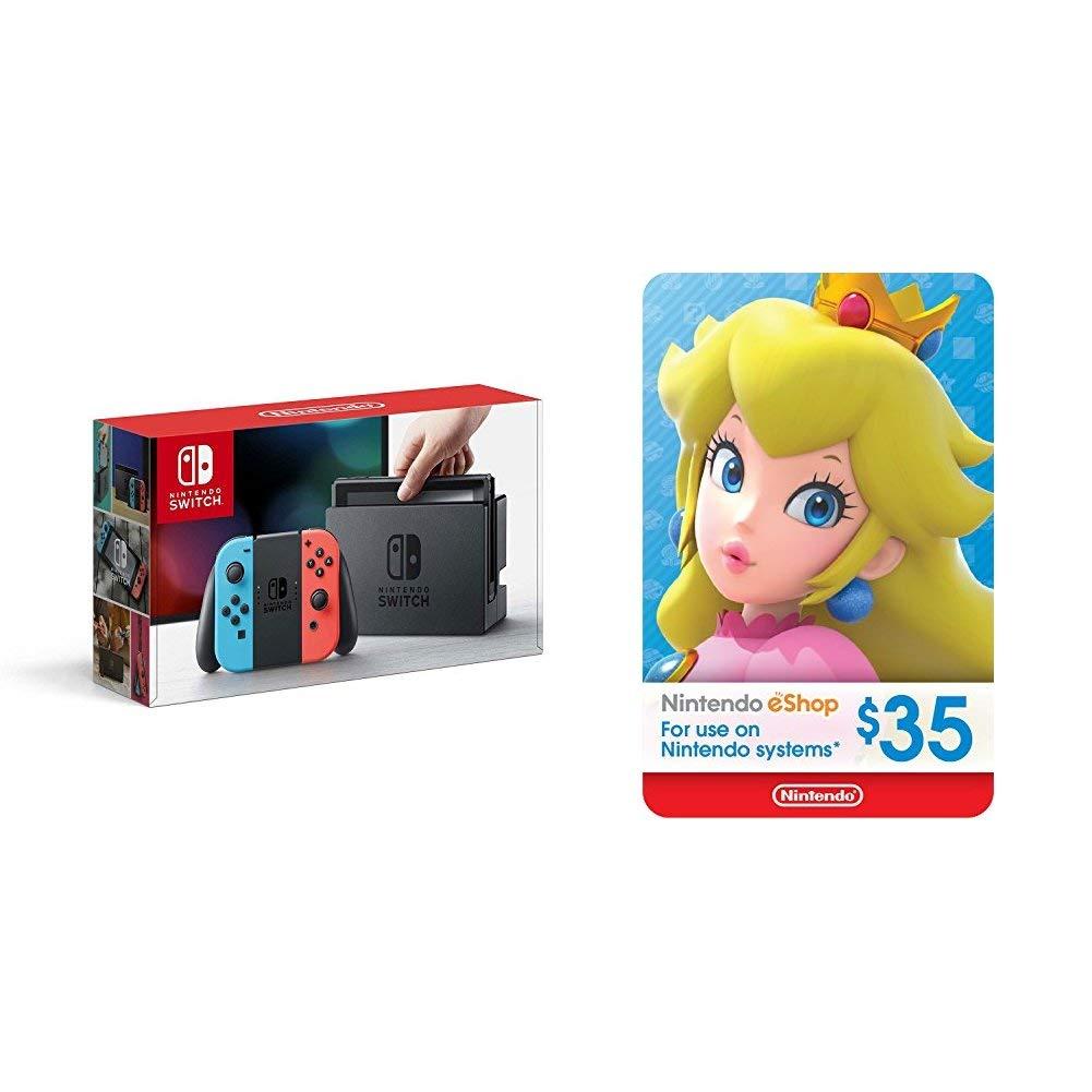 Nintendo Switch - Neon Red and Neon Blue Joy-Con + $35 Nintendo eShop Gift Card [Digital Code]