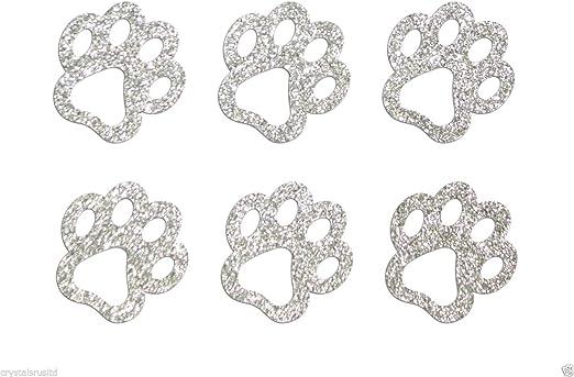 2 x Paw Prints Iron On Rhinestone Transfer Motif 13 Colours Diamante Gem Baby