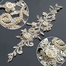 """Bling Paillette Rhinestones Lace Trims Sequin Embroidery Applique Bridal Lace Trims 9"""" Height 2-1/2"""" Wide For Wedding Dress Shoes Decoration and Hair Accessories by Piece"""