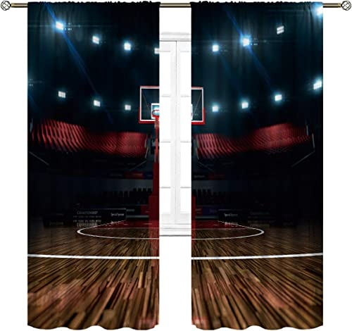 Cinbloo Teen Sports Curtains Rod Pocket Basketball Stadium Professional Arena Kids Thrill Field Boys Modern Art Printed Living Room Bedroom Window Drapes Treatment Fabric 2 Panels 52 W x 84 L Inch