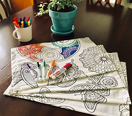 The Coloring Table - Colorable Mandala Set of 4 Placemats - PATENTED ADVANCE MATERIAL! Specialty backing ensure markers will not bleed through For a reusable activity, use washable markers for best results - placemats, kitchen-dining-room-table-linens, kitchen-dining-room - 61Fl6XreoVL -