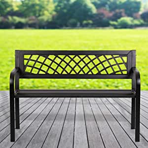 Her Majesty Garden Bench Yard Outdoor Patio with Armrests Sturdy Steel Frame Furniture Metal Bench Porch Work Easy Assembly,Black