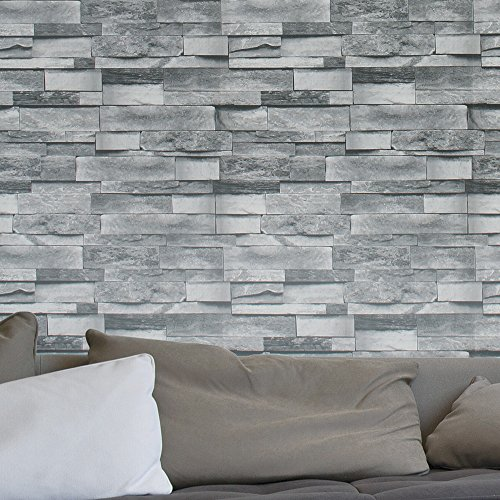 HaokHome 454003 Modern Faux Stone Wallpaper Roll Gray 3D Brick Realistic Paper Room Wall Decoration 20.8