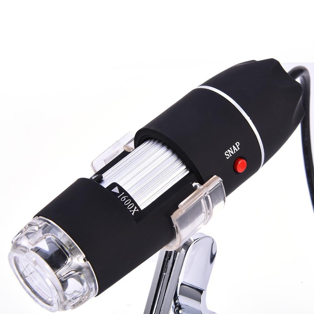 Linux Sanmubo Samber Microscope /électronique Num/érique USB Noir 1600X 8 LED Grossissement Microscope U S/érie SD Pixelsavec Support pour Windows Certains T/él/éphones Android Mac