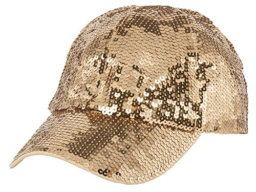 Glitter Sequin Elastic Fit Baseball Hat - -