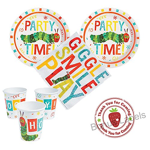 Caterpillar Party Supplies (The Very Hungry Caterpillar Party supplies 16 guests, cake plates, napkins, cups, bonus)