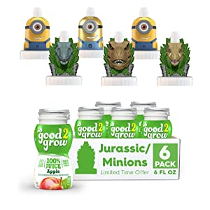 good2grow Jurassic World and Minions Character 6 Pack Apple Juice, 6-Ounce Spill Proof Character Top Bottles, Non-GMO with no Sugar Added and Excellent Source of Vitamin C