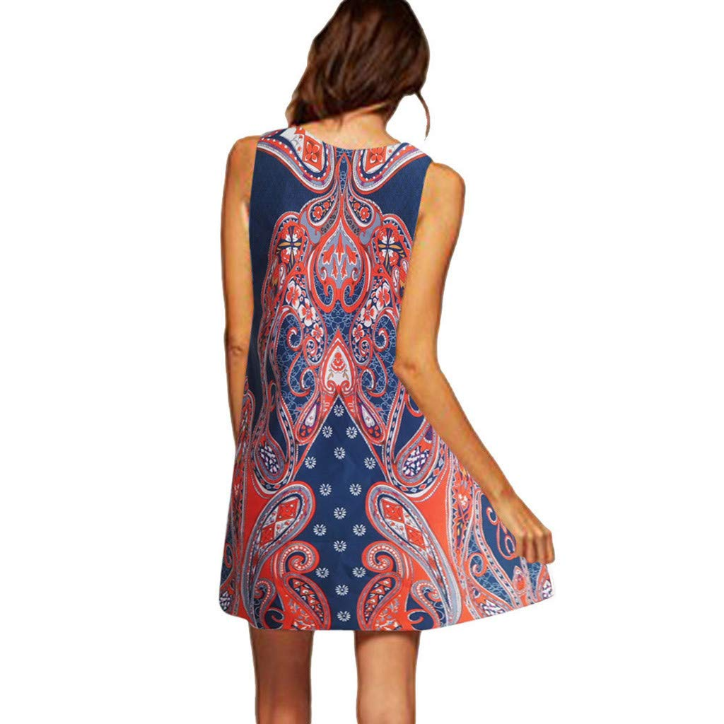 Alangbudu Women's Summer Casual Sleeveless Floral Printed Swing Dress Sundress T-Shirt Dress A Line Flare Party Dress Orange by Alangbudu-Dresses (Image #2)