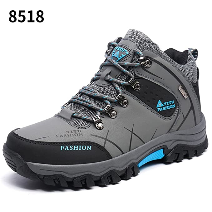 Men's Outdoor Hiking Shoes Comfortable Lightweight Trekking Shoes 39-44 ( Color : Gray-Plus plush  Size : 40 )