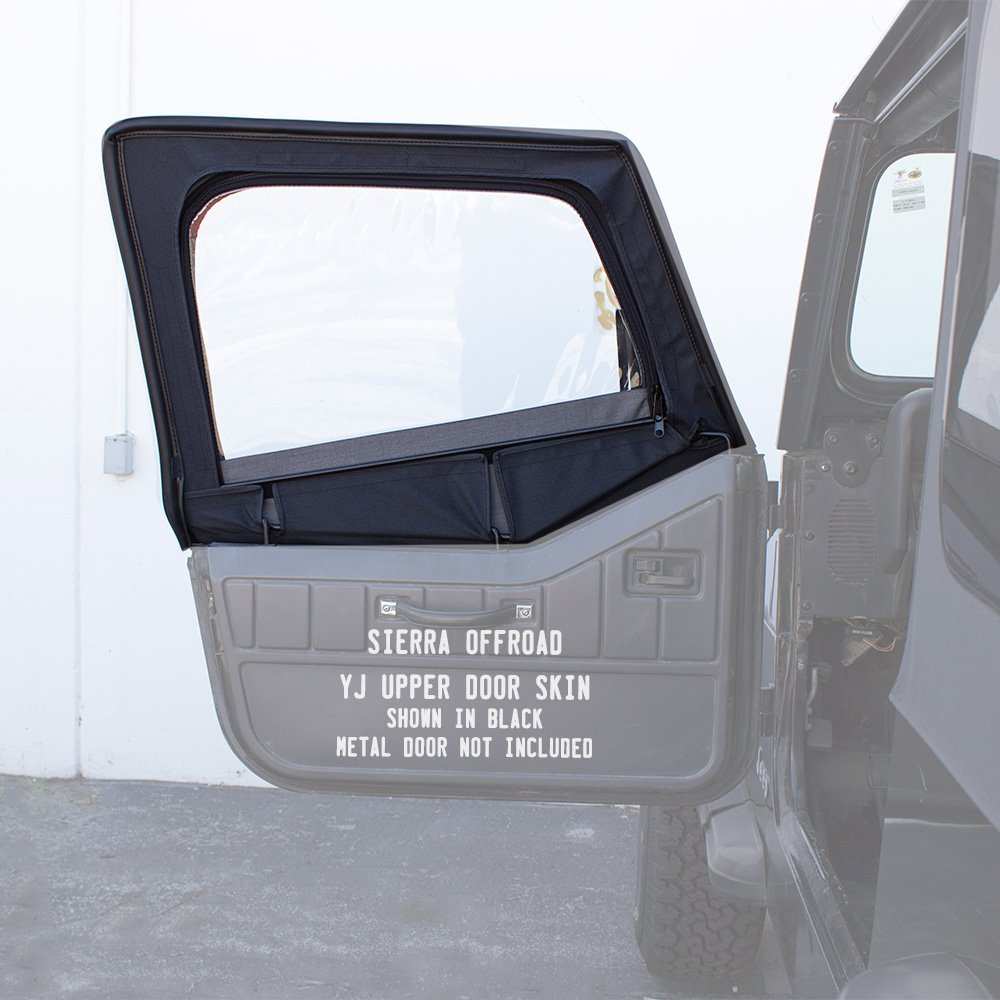 Compatible with Door Skins Fits 1988-1995 Wrangler YJ 2DR, Clear Windows, Denim Vinyl, Black