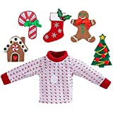 The Elf on the Shelf Sweater Set - One Sweater with 5 Attachable Decals - Dress Your Girl or Boy Elf 5 Different Ways