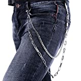 Pants Chain Punk Hiphop Men Accessories 2 Layer Chain Platinum Plated Rolo Cuban Chain Key Wallet Purse Trousers Chain