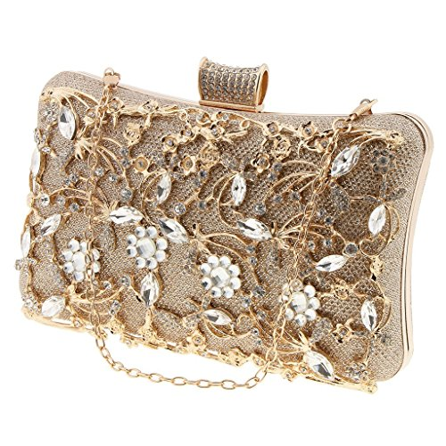 Rhinestone Bride Bag Purse Gold Bling Crystal Wedding Baoblaze Party Clutch Evening Prom xEYq0wwI