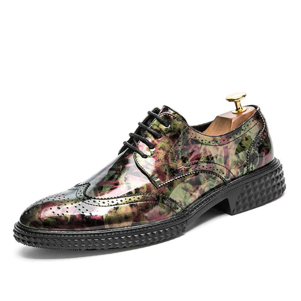 Jiuyue-shoes, Coincidencia de Color Personalizable Oxford Personalidad de los Hombres con Zapatos Brogue de Charol para Vestido de Fiesta de Boda,Zapatos Oxford Hombre (Color : Rojo, tamaño : 39 EU)