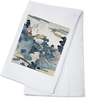 product image for An Evening View of Fuji - Japanese Wood-Cut (100% Cotton Kitchen Towel)