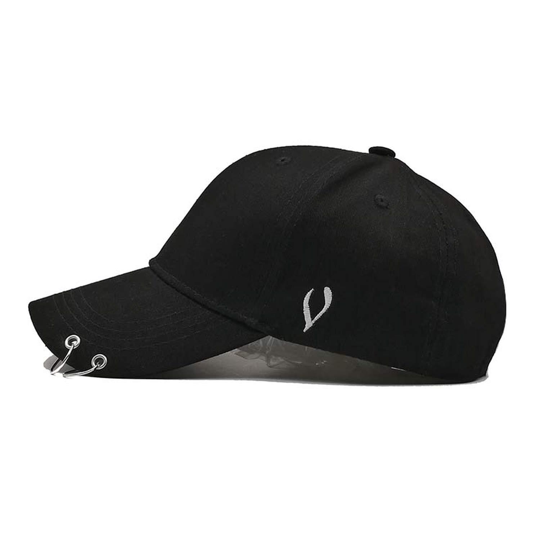 Korean Version Solid Color Baseball Cap Women/&Men with Ring Fashion Hip Hop Cap Sun Dad Hat