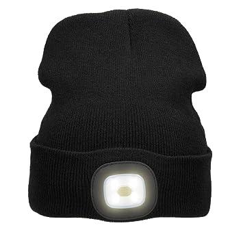 Mütze mit LED Licht Grau zum Aufladen mit USB