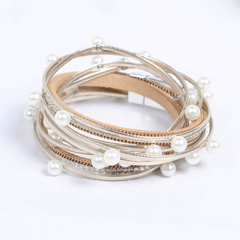 Artilady wrap Pearl Leather Bracelet for Women by Artilady