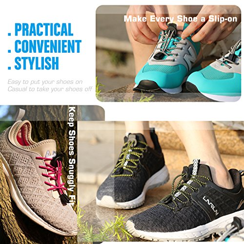 No Tie Shoelaces, UNIKOS Elastic Shoe Laces for Kids and Adults for Sneaker Marathon Running Working Shoe Hiking Boots (Gray White . BK) by UNIKOS (Image #5)