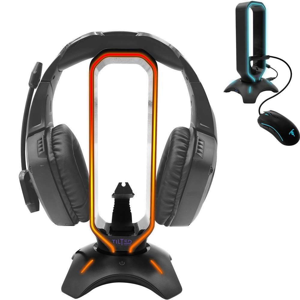 Tilted Nation RGB Headset Stand and Gaming Headphone Display with Mouse Bungee Cord Holder with USB 3.0 HUB for Wired or…