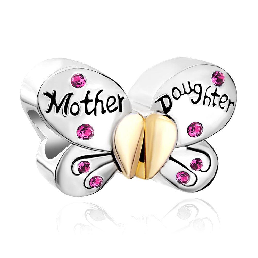 Korliya Charm-Anhänger für Armband Sterlingsilber (925) Design Mutter und Tochter Schmetterling