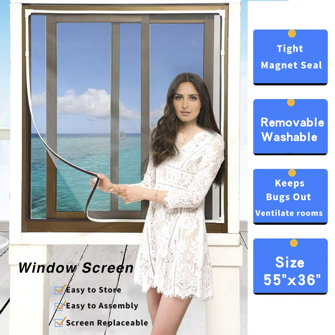 Adjustable DIY Magnetic Window Screen Max 55''H x 36''W Fits Any Size Smaller DIY Easy Installation (White)