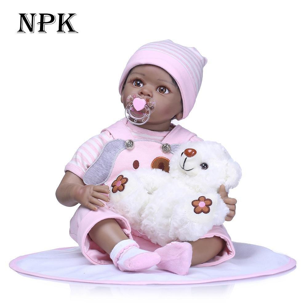 chinatera NPK Cute 22inch Soft Silicone Reborn Baby Doll Imitation Newborn Girl Toys by chinatera (Image #2)