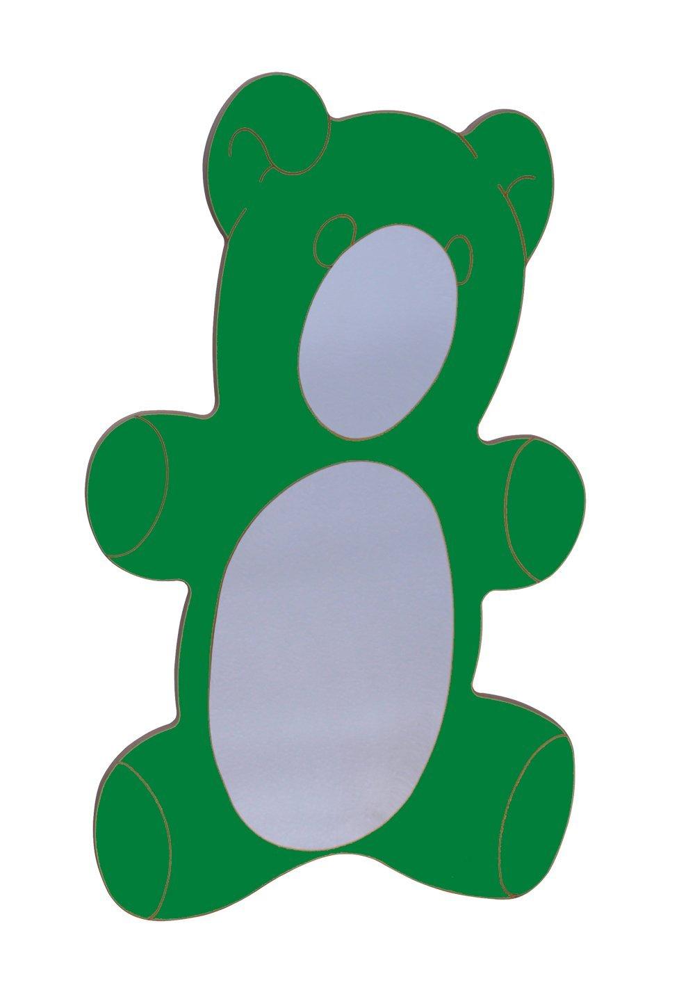 Mobeduc 602017H21 - Espejo Infantil, diseño de Oso, Madera, Color Verde Oscuro, 78 x 2 x 126 cm