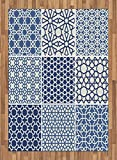 Arabian Area Rug by Lunarable, Arabesque Islamic Motifs with Geometric Lines Asian Ethnic Muslim Ottoman Element, Flat Woven Accent Rug for Living Room Bedroom Dining Room, 5.2 x 7.5 FT, Blue White