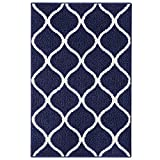 Maples Rugs Kitchen Rug - Rebecca 2'6 x 3'10 Non Skid Small Accent Throw Rugs [Made in USA] for Entryway and Bedroom, Navy Blue/White