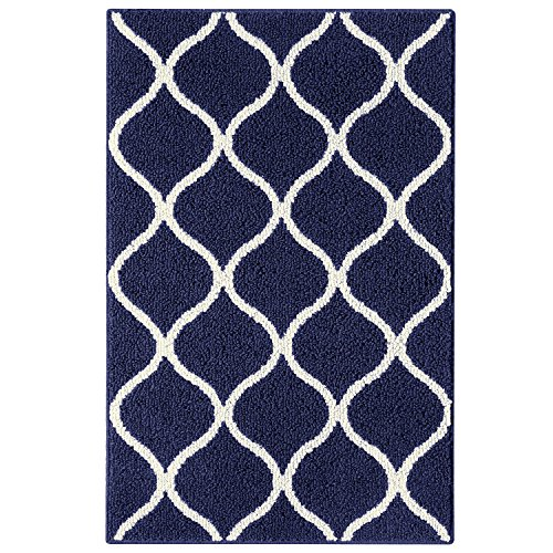 Maples Rugs Kitchen Rug - Rebecca 2'6 x 3'10 Non Skid Small Accent Throw Rugs [Made in USA] for Entryway and Bedroom, Navy - Mat Accent