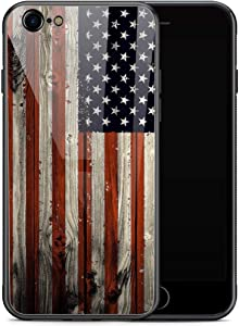 iPhone 6s Plus Case, Red Wood American Flag iPhone 6 Plus Cases for Men Boy, Tempered Glass Back Pattern with Soft TPU Bumper Case for Apple iPhone 6/6s Plus Case 5.5-inch Red Wood USA Flag