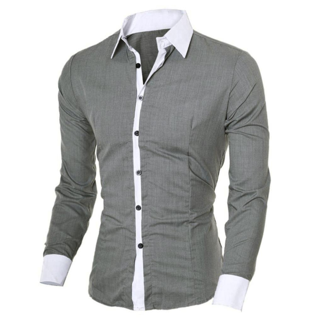 BCDshop Men's Fashion Casual Slim Shirt Button Down Cool Handsome Tops Blouse