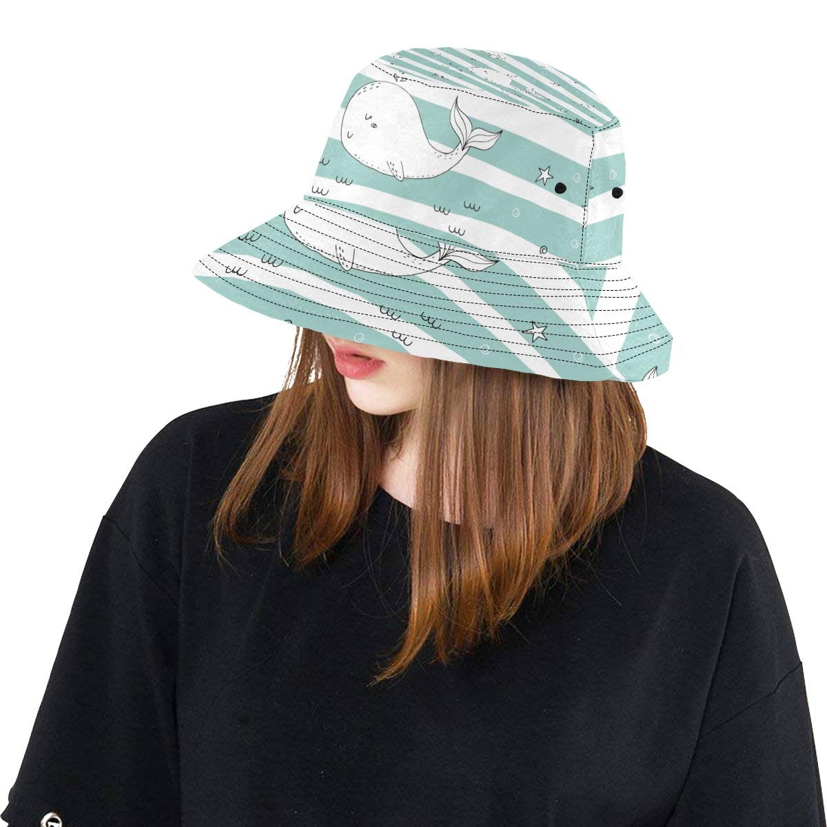 Cute Ocean Sky Blue Vivid Cartoon Whale New Summer Unisex Cotton Fashion Fishing Sun Bucket Hats for Kid Teens Women and Men with Customize Top Packable Fisherman Cap for Outdoor Travel