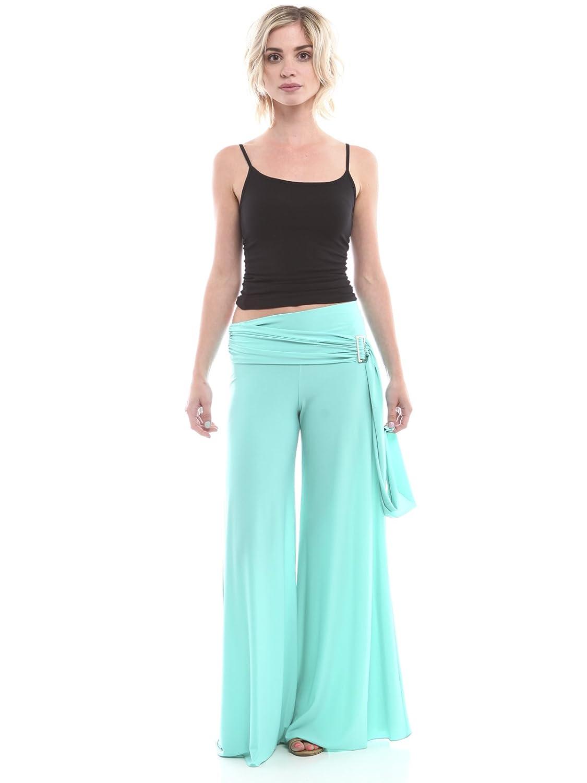 Minx Women's Minx Women's Solid Palazzo Pants Featuring Metallic Buckle