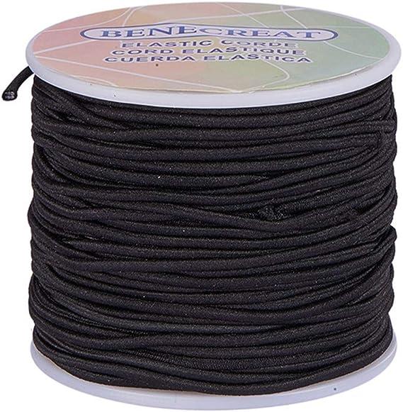 Imagen deBENECREAT 2 mm 50m Cordón Elástico Hilo de Nylon de Rebordear Tela Hilo para Cuentas Pelo y Manualidad(2 mm, Negro)