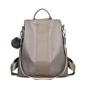 LUI SUI Mochila para mujer, mochila de nylon antirrobo Mochila escolar Bolso para mujer Bolsos de hombro Mochila ligera Bolsos Caqui: Amazon.es: Equipaje
