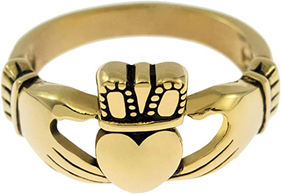 Joyful Sentiments Celtic Jewelry Stainless Steel Small Silver Claddagh Ring