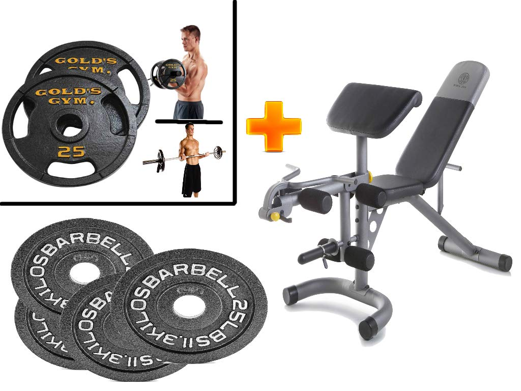Golds Gym* XRS 20 Olympic Workout Bench + 2-Inch Olympic Plate(Set of 4) with 25lbs Plate Set - Bundle Set