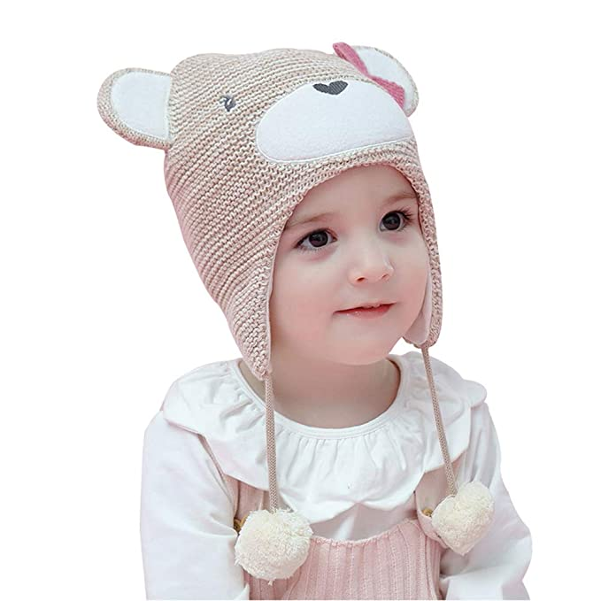 60c9dd530cd37 Arcweg Winter Hat for Baby Girls Boys Toddler Winter Warm Hat with Ear  Flaps Cap Cotton Cut Bear Double Layer Knitted  Amazon.co.uk  Clothing