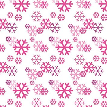 5m roll childrens girls christmas gift wrapping paper cute modern 1912 white with pink snowflakes