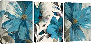 Blue Flowers Poster Prints Wall Art Retro Abstract Floral Canvas Picture Wall Decor Painting Modern Artwork Wall Decoration for Bedroom Living Room Framed 12