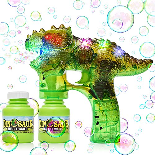 YIZI Dinosaur Bubble Gun Bubble Blower with LED Flashing Lights and Music, Dinosaur Bubble Toy for 1 2 3 4 5 Year Old Girl and Boy