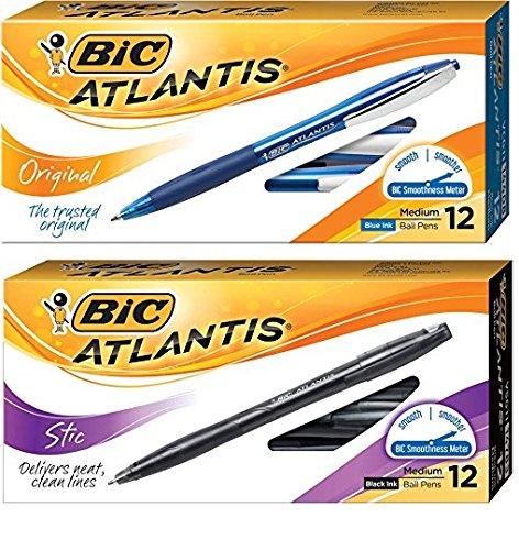 Bic Atlantis Ball Pen (BIC Atlantis Original Retractable Ball Pen Set: Set Includes BIC Atlantis Original Retractable Ball Pen (12- Blue , 12- Black ))